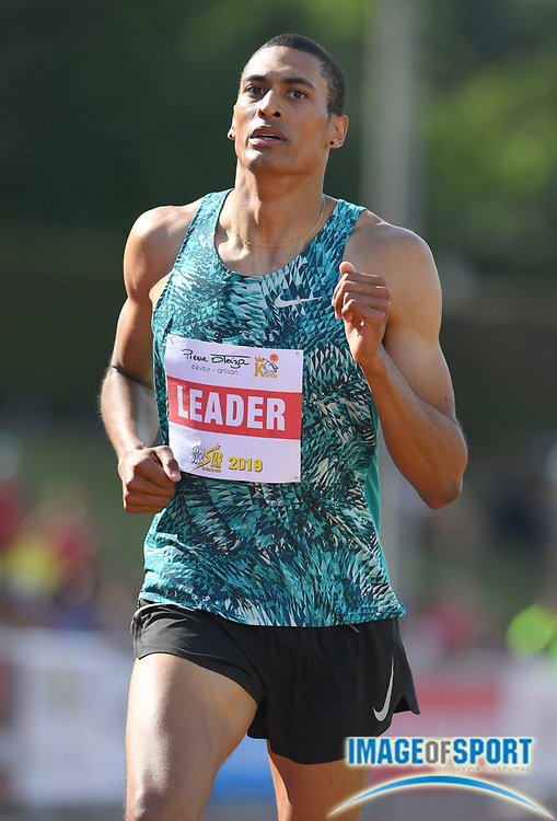 Pierce LePage (CAN) runs 4:59.76 in the 1,500m during the decathlon at the DecaStar meeting, Saturday, June 23, 2019, in Talence, France. LePage won with 8,453 points. (Jiro Mochizuki/Image of Sport)