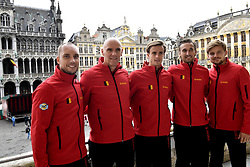 September 14, 2017 - Bruxelles, Belgique - BRUSSELS, BELGIUM - SEPTEMBER 14 : Steve Darcis Johan Van Herck Arthur De Greef Ruben Bemelmans and David Goffin on the Balcony of Grand Place  during the draw prior to the Davis Cup World Group Semifinal match between Belgium and Australia on September 14, 2017 in Brussels, Belgium, 14/09/2017 (Credit Image: © Panoramic via ZUMA Press)