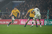 Twickenham, Surrey. UK. Bernard FOLEY. kicks  the ball over, Sean MCMAHON and Antony WATSON,  during the <br /> England VS Australia, Autumn International. Old Mutual Wealth Series. RFU Stadium, Twickenham. UK<br /> <br /> Saturday  18.11.17<br /> <br /> [Mandatory Credit Peter SPURRIER/Intersport Images]