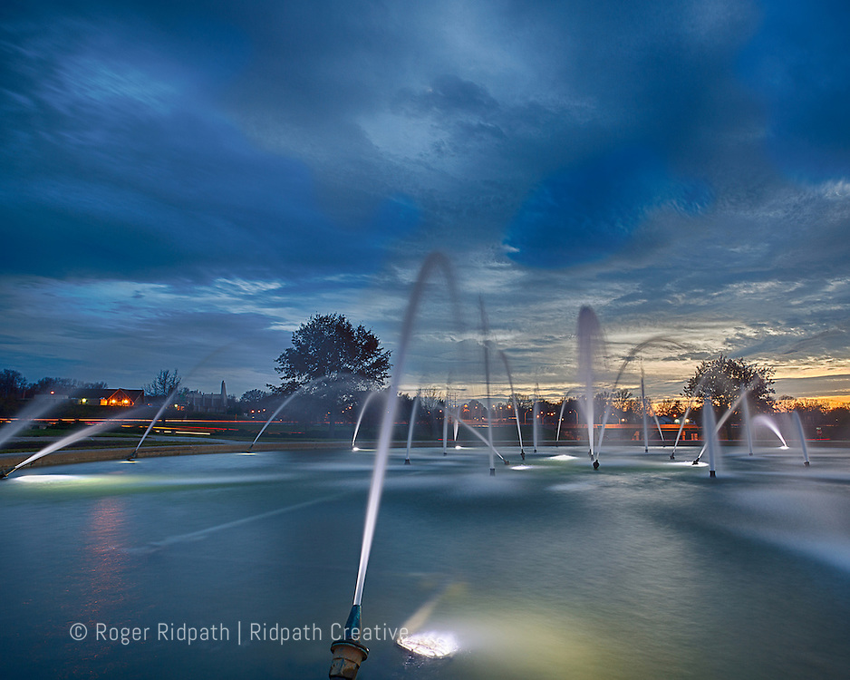 Northland Fountain Kansas City Missouri at Sunset