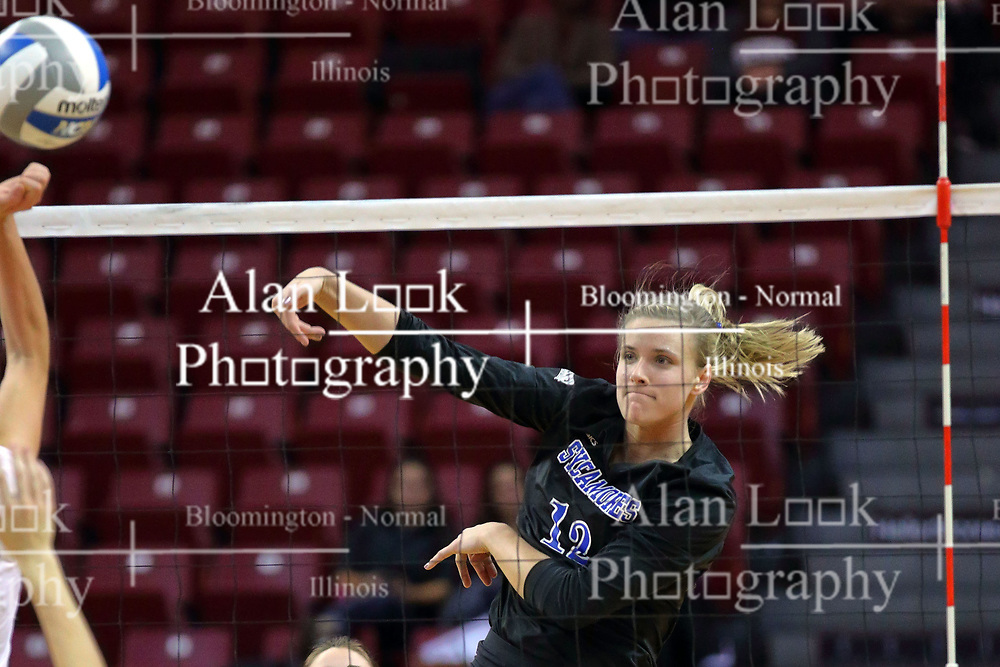 23 November 2017:  Laura Gross during a college women's volleyball match between the Drake Bulldogs and the Indiana State Sycamores in the Missouri Valley Conference Tournament at Redbird Arena in Normal IL (Photo by Alan Look)