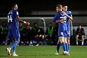 AFC Wimbledon midfielder Alfie Eagan (28) celebrating after scoring goal during the EFL Trophy group stage match between AFC Wimbledon and Stevenage at the Cherry Red Records Stadium, Kingston, England on 6 November 2018.