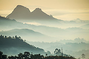 Sunrise and fog over the mountains surrounding Blantyre, Malawi, Africa