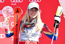 18.03.2017, Aspen, USA, FIS Weltcup Ski Alpin, Finale 2017, Slalom, Damen, Siegerehrung, im Bild Mikaela Shiffrin (USA, 2. Platz und Slalom-Weltcupsiegerin)z) mit der Kristrallkugel für den Slalom Weltcupsieg // second placed and Slalom World Cup winner Mikaela Shiffrin of the USA With the crystal gobe for the ladie's Slalom World Cup during the winner award ceremony for the ladie's Slalom of 2017 FIS ski alpine world cup finals. Aspen, United Staates on 2017/03/18. EXPA Pictures © 2017, PhotoCredit: EXPA/ Erich Spiess