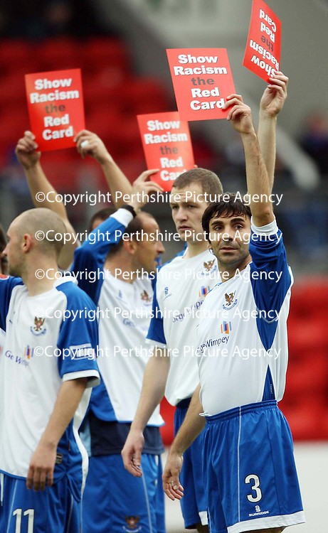 St Johnstone v Clyde....27.10.07<br /> Goran Stanic leads the Saints players with Show Racism the Red Card campaign<br /> Picture by Graeme Hart.<br /> Copyright Perthshire Picture Agency<br /> Tel: 01738 623350  Mobile: 07990 594431