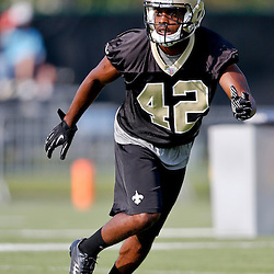 Jul 26, 2013; Metairie, LA, USA; New Orleans Saints defensive back Isa Abdul-Quddus (42) during the first day of training camp at the team facility. Mandatory Credit: Derick E. Hingle-USA TODAY Sports