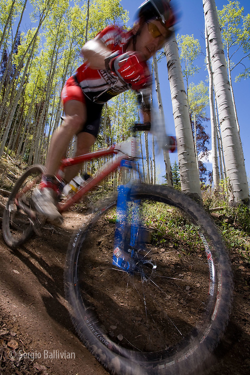 Mountain bikers race on Vail mountain during the TEVA Mountain Games in June 2008.