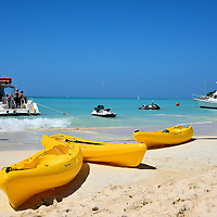 Kayaks on the Beach at Dickenson Bay in St. John&rsquo;s, Antigua<br />