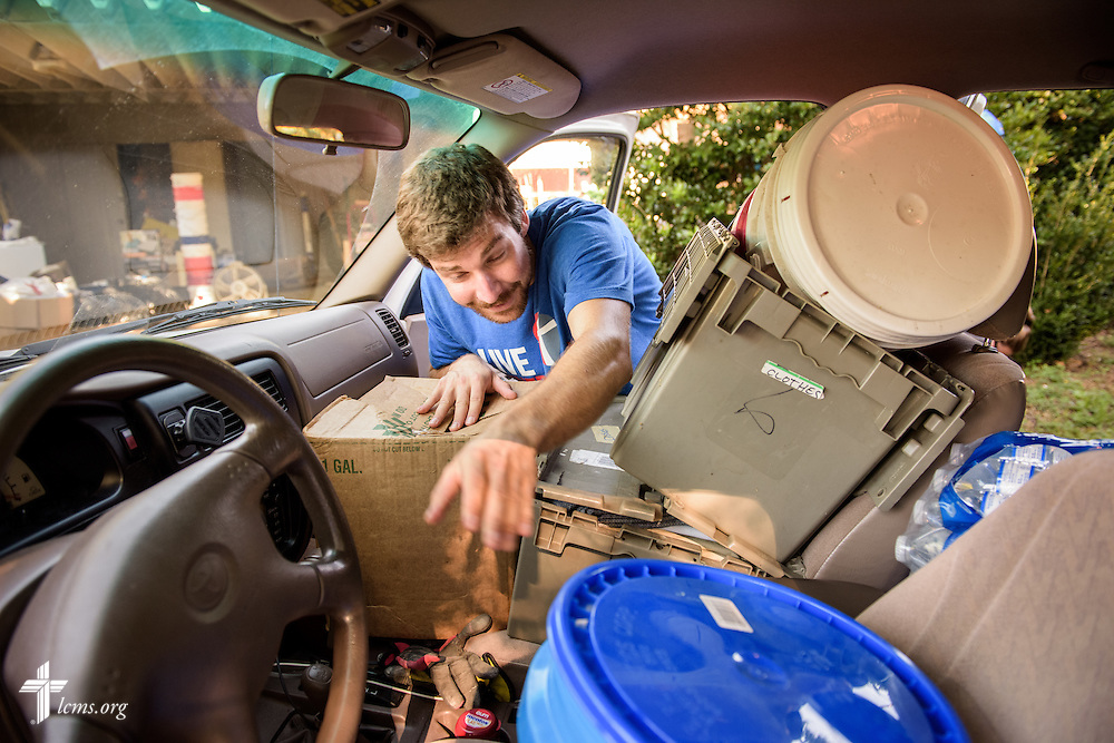 Ricky Gross, a volunteer from Christ the King Lutheran Church, Redlands, Calif., hauls out supplies at Trinity Oaks, a ministry of Trinity Lutheran Church, Baton Rouge, La., as he prepares to leave to a flood-damaged home on Wednesday, Sept. 14, 2016, in Baton Rouge. LCMS Communications/Erik M. Lunsford