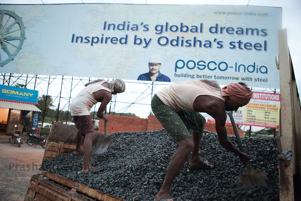 A hoarding of POSCO steel is displayed on the National Highway 5, in Bhubaneshwar, Orissa, India, on Thursday July 1, 2010. Photographer: Prashanth Vishwanathan/Bloomberg News