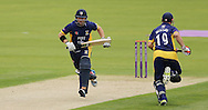 Mark Stoneman (left) and Phil Mustard of Durham County Cricket Club running during the Royal London One Day Cup match at Emirates Durham ICG, Chester-le-Street<br /> Picture by Simon Moore/Focus Images Ltd 07807 671782<br /> 06/09/2014