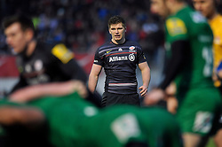Owen Farrell of Saracens watches a scrum - Photo mandatory by-line: Patrick Khachfe/JMP - Mobile: 07966 386802 03/01/2015 - SPORT - RUGBY UNION - London - Allianz Park - Saracens v London Irish - Aviva Premiership