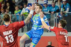 Miha Zarabec of Slovenia during handball match between National teams of Slovenia and Czech Republic on Day 7 in Main Round of Men's EHF EURO 2018, on January 24, 2018 in Arena Varazdin, Varazdin, Croatia. Photo by Mario Horvat / Sportida