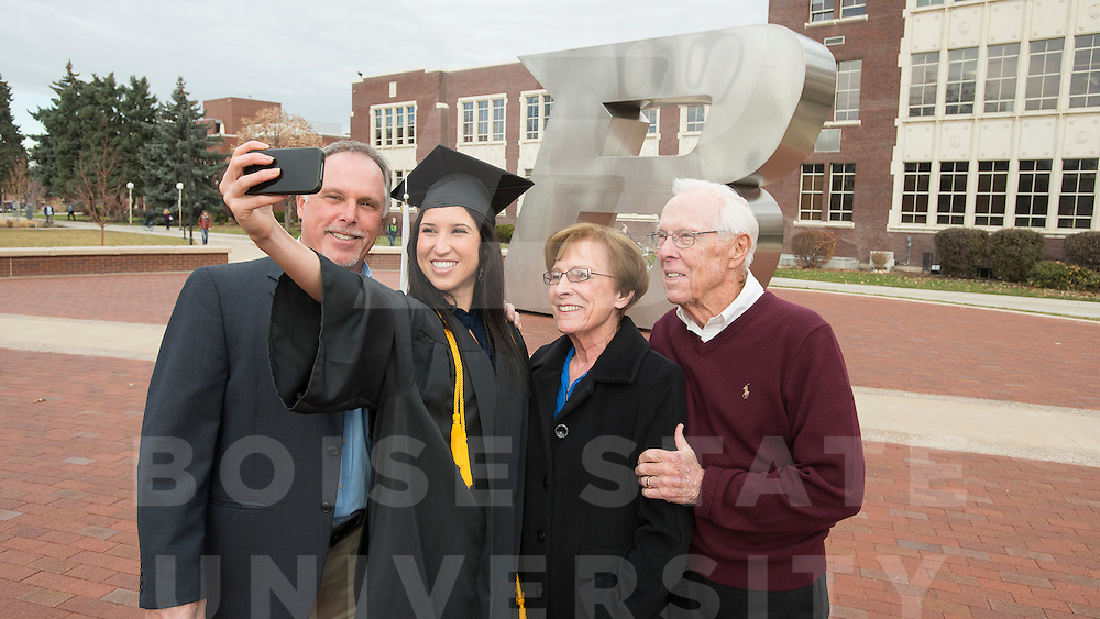 Tess Morrow and family, Commencement Advertisement, B Plaza, John Kelly photo