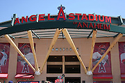 ANAHEIM, CA - APRIL 26:  The entrance to Angel Stadium is decorated with large baseball bats and balls at the Los Angeles Angels of Anaheim game against the Seattle Mariners at Angel Stadium on Sunday, April 26, 2009 in Anaheim, California.  The Angels shut out the Mariners 8-0.  (Photo by Paul Spinelli/MLB Photos via Getty Images)