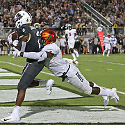 ORLANDO, FL - AUGUST 29: Otis Anderson #2 of the UCF Knights catches a touchdown pass in front of Terry Jefferson #1 of the Florida A&M Rattlers during a NCAA football game on August 29 2019 in Orlando, Florida. (Photo by Alex Menendez/Getty Images) *** Local Caption *** Otis Anderson; Terry Jefferson