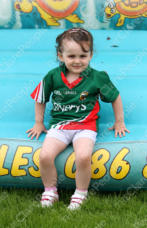 4/8/13 Emma Sweeney went straight for the Bouncy Castle at the Cooraclare Field Day. Pic Tony Grehan
