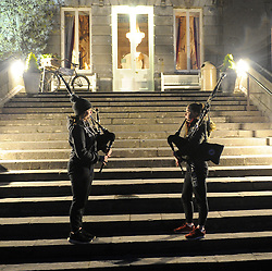 Clew Bay Pipe Band Members Roisin Hogan and Laoise Gannon playing on the steps of Westport House during Pieta House Darkness Into Light Walk in Westport on saturday morning last.<br />
