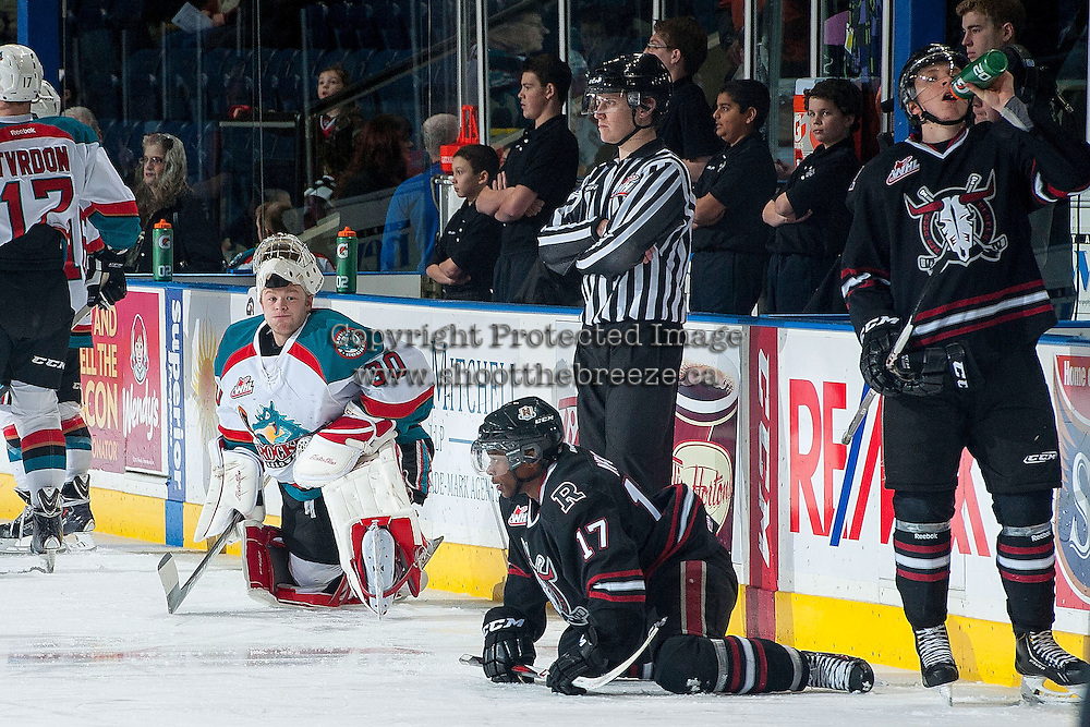 KELOWNA, CANADA -FEBRUARY 5: Jordon Cooke #30 of the Kelowna Rockets stretches during warm up against the Red Deer Rebels on February 5, 2014 at Prospera Place in Kelowna, British Columbia, Canada.   (Photo by Marissa Baecker/Getty Images)  *** Local Caption *** Jordon Cooke;