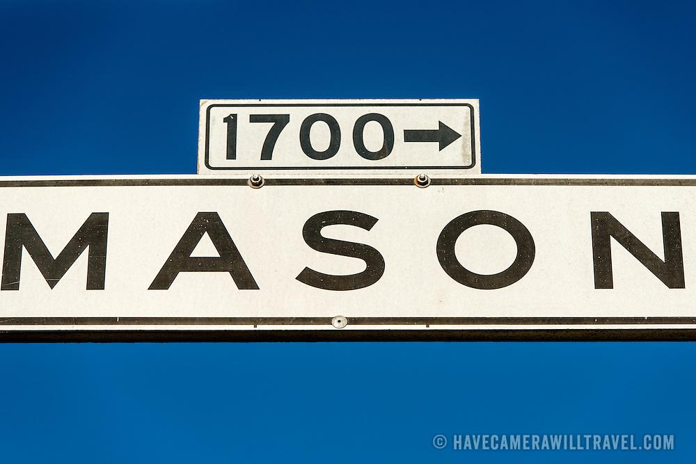 Street sign for Mason Street in San Francisco's North Beach neighborhood.