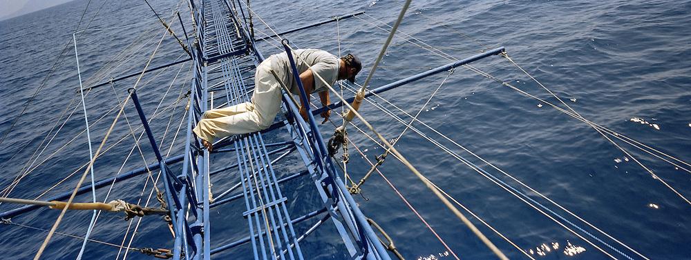 Recupero della lancia dopo aver catturato e portato su in barca il pesce.<br /> Il pesce Spada dello stretto cos&igrave; pescato &egrave; molto raro e per questo ha un prezzo di vendita elevato. Catturato in questo modo &egrave; dedicato a palati sopraffini. Di diverso sapore da quello pescato con la rete.<br /> <br /> The fishrman resume the spear