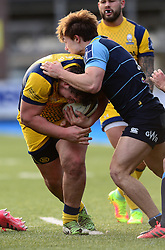 Val Rapava Ruskin of Worcester Warriors is tackled by Teri Gee of Cardiff Blues - Mandatory by-line: Dougie Allward/JMP - 04/02/2017 - RUGBY - BT Sport Cardiff Arms Park - Cardiff, Wales - Cardiff Blues v Worcester Warriors - Anglo Welsh Cup