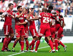 GOAL CELEBRATIONS. Bristol City captain, Sam Baldock celebrates with his team mates after scoring.  - Photo mandatory by-line: Dougie Allward/JMP - Tel: Mobile: 07966 386802 24/08/2013 - SPORT - FOOTBALL - Stadium MK - Milton Keynes -  Milton Keynes Dons V Bristol City - Sky Bet League One