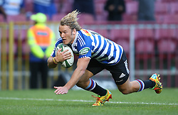 Werner Kok of Western Province dives over to score Western Province second try during the Currie Cup Premier Division match between the DHL Western Province and the Sharks held at the DHL Newlands Rugby Stadium in Cape Town, South Africa on the 3rd September  2016<br /> <br /> Photo by: Shaun Roy / RealTime Images
