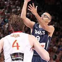 15 July 2012: Tony Parker of Team France goes for a floater during a pre-Olympic exhibition game won 75-70 by Spain over France, at the Palais Omnisports de Paris Bercy, in Paris, France.