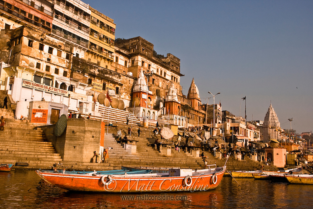 Boats moored on the bank of river, waiting for tourists.<br /> (Photo by Matt Considine - Images of Asia Collection)