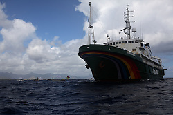 MAURITIUS 3MAY13 - The Greenpeace ship Esperanza is accompanied by a flotilla of small artisanal fishermen in their boats as is heads to Grand Baie in Mauritius.<br /> <br /> Greenpeace will deliver a message to the IOTC (Indian Ocean Tuna Commission)<br /> delegates highlighting the concerns of unsustainable fishing practices in the Indian Ocean.<br /> <br /> jre/Photo by Jiri Rezac / Greenpeace