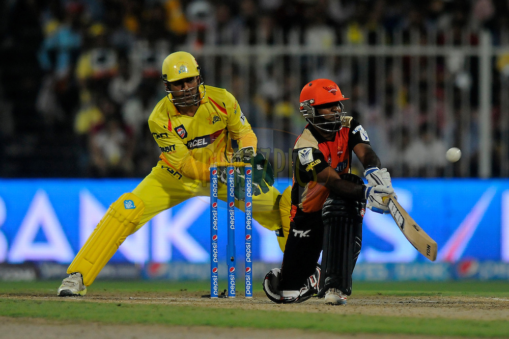 Venugopal Rao of the Sunrisers Hyderabad bats during match 16 of the Pepsi Indian Premier League 2014 between the Delhi Daredevils and the Mumbai Indians held at the Sharjah Cricket Stadium, Sharjah, United Arab Emirates on the 27th April 2014<br /> <br /> Photo by Pal Pillai / IPL / SPORTZPICS