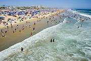 Crowed Huntington Beach Shoreline