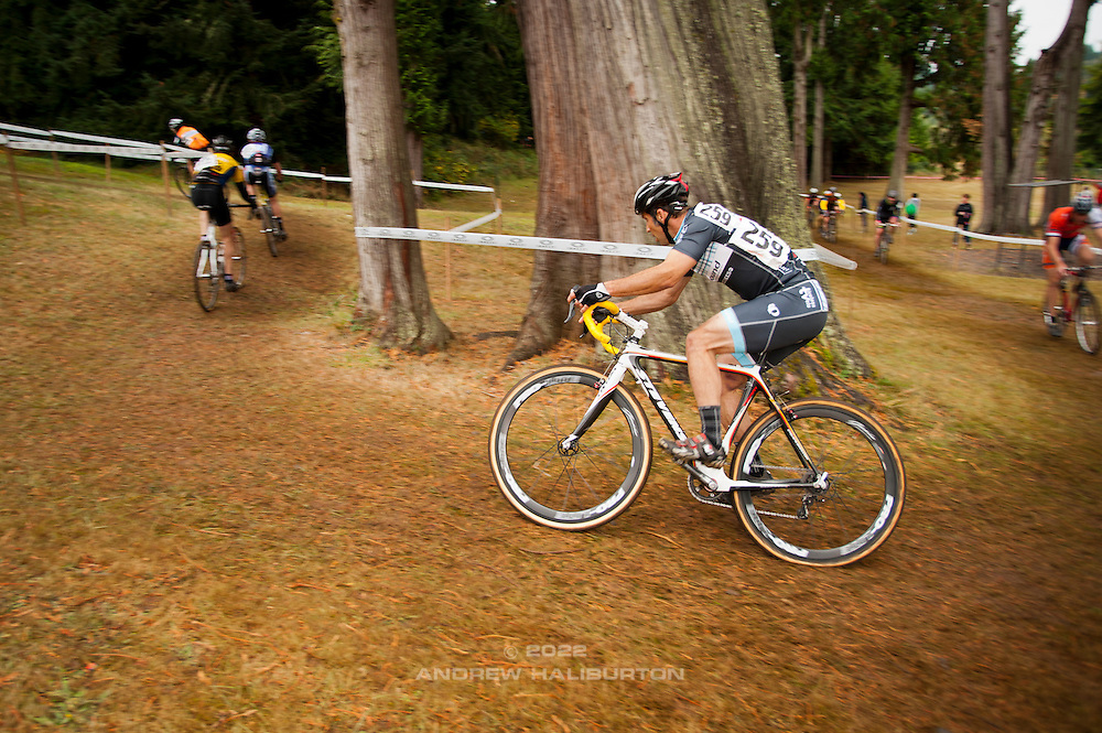 Rebound Tireless Velo team members at Race 2 of the Cyclocross Crusade Series at Rainier High School, Oregon, 14 October 2012.