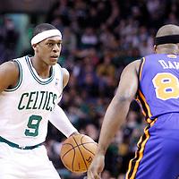 04 March 2012: Boston Celtics point guard Rajon Rondo (9) brings the ball up court during the Boston Celtics 115-111 (OT) victory over the New York Knicks at the TD Garden, Boston, Massachusetts, USA.