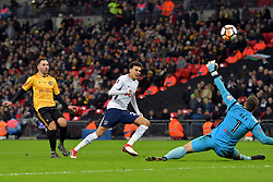 February 7, 2018 - London, United Kingdom - Tottenham Hotspur's Dele Alli misses a great chance during the FA Cup Fourth Round replay match between Tottenham Hotspur and Newport County at Wembley stadium, London, England on 10 Feb  2018. (Credit Image: © Kieran Galvin/NurPhoto via ZUMA Press)