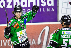 "25.03.2014, Hala Tivoli, Ljubljana, SLO, EBEL, HDD Telemach Olimpija Ljubljana vs HC TWK Innsbruck ""Die Haie"", 76th Game Day, in picture Miha Verlic (HDD Telemach Olimpija, #91) celebrates after scoring a goal during the Erste Bank Icehockey League 76th Game Day match between HDD Telemach Olimpija Ljubljana and HC TWK Innsbruck ""Die Haie"" at the Hala Tivoli, Ljubljana, Slovenia on 2014/03/25. (Photo By Matic Klansek Velej / Sportida)"