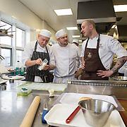 17.01.17<br /> Belgian Chocolatier, Erik van der Veken demonstration LIT. <br /> <br /> Pictured are, Pawel Malinowski and Martin Dunajsky with Erik van der Veken. Picture: Alan Place