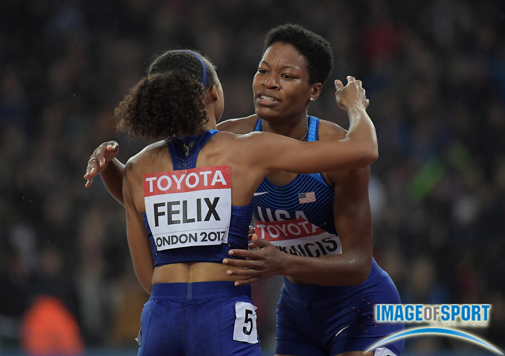 Aug 9, 2017; London, United Kingdom; Phyllis Francis (right) and Allyson Felix (USA) embrace after placing first and third in the women's 400m in 49.92 and 50.08 during the IAAF World Championships in Athletics at London Stadium at Queen Elizabeth Park.