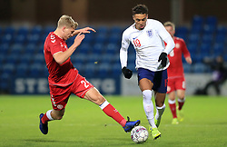 Denmark U21's Rasmus Nissen (left) and England U21's Dominic Calvert-Lewin battle for the ball during the international friendly match at the Blue Water Arena, Esbjerg.