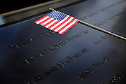 American flag at the 9/11 memorial to the World Trade Center in New York City