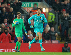 LIVERPOOL, ENGLAND - Sunday, October 27, 2019: Tottenham Hotspur's goalkeeper Paulo Gazzaniga races to get back to his goal after going up for a corner in injury time during the FA Premier League match between Liverpool FC and Tottenham Hotspur FC at Anfield. Liverpool won 2-1. (Pic by David Rawcliffe/Propaganda)