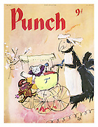 Punch Front Cover - April 8th 1959 - Nanny Mr Punch with baby Toby and teddy Mr Punch in pram