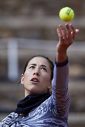 April 21, 2018 - La Manga, Murcia, Spain - Garbine Muguruza of Spain serves during training during day one of the Fedcup World Group II Play-offs match between Spain and Paraguay at Centro de Tenis La Manga Club on April 21, 2018 in La Manga, Spain  (Credit Image: © David Aliaga/NurPhoto via ZUMA Press)