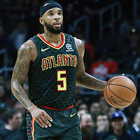 08 January 2018: Atlanta Hawks guard Malcolm Delaney (5) brings the ball up court during the LA Clippers 108-107 victory over the Atlanta Hawks, at the Staples Center, Los Angeles, California, USA.