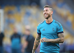 May 25, 2018 - Kiev, Ukraine - Real Madrid's Spanish defender Sergio Ramos during a Real Madrid team training session at the Olympic Stadium in Kiev, Ukraine on May 25, 2018, on the eve of the UEFA Champions League final football match between Liverpool and Real Madrid. (Credit Image: © Raddad Jebarah/NurPhoto via ZUMA Press)
