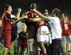 Bristol City's Marlon Harewood celebrates with Bristol city fans  - Photo mandatory by-line: Joe Meredith/JMP - Tel: Mobile: 07966 386802 04/09/2013 - SPORT - FOOTBALL -  Ashton Gate - Bristol - Bristol City V Bristol Rovers - Johnstone Paint Trophy - First Round - Bristol Derby