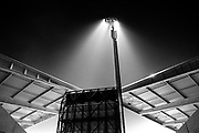 Stadium light during a football match in the Olympic stadium of Antwerp, Belgium.