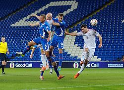 James Collins of Wales (West Ham) scores a goal. - Photo mandatory by-line: Dougie Allward/JMP - Tel: Mobile: 07966 386802 03/03/2014 -