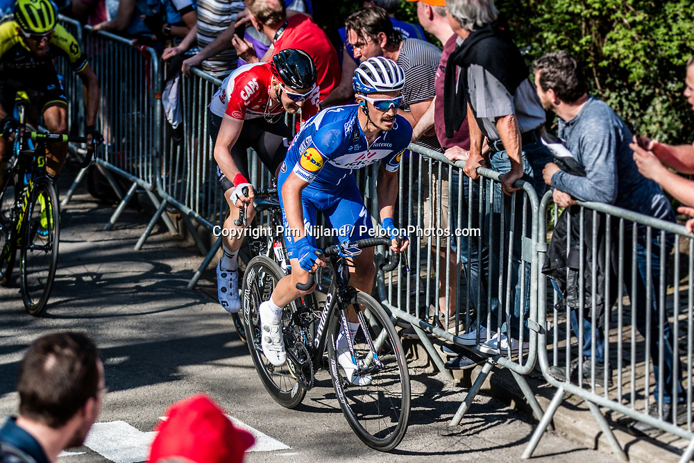 Julian ALAPHILIPPE of Quick-Step Floors on his way to victory during the last climb at Mur de Huy of the 2018 La Flèche Wallonne race, Huy, Belgium, 18 April 2018, Photo by Pim Nijland / PelotonPhotos.com | All photos usage must carry mandatory copyright credit (Peloton Photos | Pim Nijland)